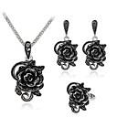 povoljno Tote torbe-Žene mali dijamant Svadbeni nakit Setovi Vintage Style Roses Ljubav Flower Shape Klasik Elegantno Naušnice Jewelry Crn Za Vjenčanje Party 1set