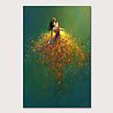 billige Abstrakte malerier-Hang malte oljemaleri Håndmalte - Mennesker Pop Kunst Moderne Uten Indre Ramme