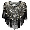 ราคาถูก ผ้าคลุมสำหรับชุดแต่งงาน-เสื้อไม่มีแขน ชิฟฟอน / เลื่อม / polyster งานแต่งงาน / งานปาร์ตี้ / งานราตรี Women's Wrap กับ เลื่อม / พู่ ผ้าคลุมไหลถัก