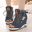 baratos Botas Femininas-Mulheres Botas Creepers Jeans Botas Curtas / Ankle Verão Azul