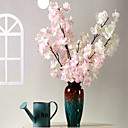 billiga Artificiell Blomma-Konstgjorda blommor 3 Gren Klassisk Modernt Modernt Pastoral Stil Sakura Bordsblomma