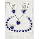 ราคาถูก ชุดเครื่องประดับ-สำหรับผู้หญิง สีน้ำเงิน Cubic Zirconia สร้อยคอจี้ ชุดเครื่องประดับเจ้าสาว ทูโทน Heart ความปิติยินดี มีความสุข โอชะ ความหรูหรา คลาสสิก หวาน สง่างาม ชุบเงิน ต่างหู เครื่องประดับ สีเงิน สำหรับ