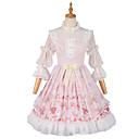 billige Vaskehåndklæ-Sweet Lolita Prinsesse Lolita Country Lolita Kjoler Cosplay Kostumer Party-kostyme Maskerade Jente Dame Japansk Cosplay-kostymer Rosa Blonder Blomsternål i krystall Juliet 3/4 ermer Medium Lengde