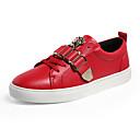 ราคาถูก รองเท้าแตะและรองเท้าโลฟเฟอร์สำหรับผู้หญิง-สำหรับผู้หญิง รองเท้าผ้าใบ ส้นแบน ปลายกลม PU ไม่เป็นทางการ วสำหรับเดิน ฤดูร้อน ขาว / สีดำ / แดง