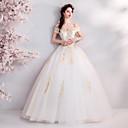 baratos Roupas de Balé-De Baile Ombro a Ombro Longo Tule Alças Vestidos de casamento feitos à medida com Apliques / Franzido 2020