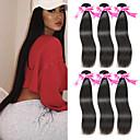 billige Motering-6 pakker Peruviansk hår Rett Ubehandlet Menneskehår 100% Remy Hair Weave Bundles Menneskehår Vevet Bundle Hair Hairextensions med menneskehår 8-28 tommers Naturlig Farge Hårvever med menneskehår