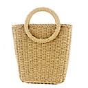Χαμηλού Κόστους Τσάντες Tote-Γυναικεία Άχυρο Τσάντα χειρός Συμπαγές Χρώμα Μπεζ / Καφέ / Φθινόπωρο & Χειμώνας
