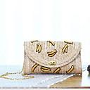 baratos Broches-Mulheres Botões Palha Bolsa Transversal Floral Khaki