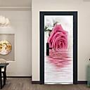 billige Blondeparykker med menneskehår-refleksjon av rosa blomster dør klistremerker dekorative vanntett dør dekal innredning