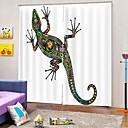 baratos Cortinas 3D-3d pvc impressão digital gecko cortinas de janela de luxo lotes de ações cortinas blackout 100% tecido de poliéster escritório / sala de estar / hotel