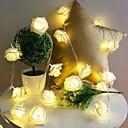 baratos Cobertura de Cadeira-10 led subiu decoração de natal luzes da corda simulação led luz post lanterna iluminação de fadas luzes festa em casa flor
