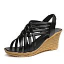 baratos Sandálias Femininas-Mulheres Sandálias Salto Plataforma Peep Toe Couro Ecológico Casual Verão Preto / Bege / Castanho Escuro