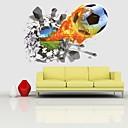 baratos Cortinas 3D-Adesivo quebrado do furo da parede do campo de jogos do fogo do futebol do futebol 3d