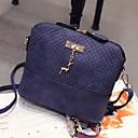 ราคาถูก กระเป๋าสะพายข้าง-สำหรับผู้หญิง ซิป PU Crossbody Bag สีดำ / สีแดงเข้ม / สีน้ำเงิน