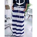 baratos Fantasias Sexy-Mulheres Moda de Rua Longo Reto Saias - Listrado Azul e Branco Branco M L XL