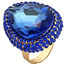 billige Vintage Ring-Dame Justerbar ring 1pc Mørkeblå Edelsten og krystall Legering Oval Luksus Fest Klubb Smykker