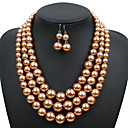 cheap Jewelry Sets-Women's Pearl Bridal Jewelry Sets Classic Love Artistic Luxury Elegant Imitation Pearl Earrings Jewelry Dark Red / Grey / Champagne For Wedding Party 1 set