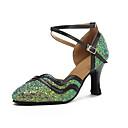 זול נעלי עקב לנשים-בגדי ריקוד נשים נעלי ריקוד סינטטיים נעליים מודרניות Paillette עקבים עקב קובני מותאם אישית ירוק / הצגה