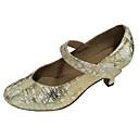 povoljno Tote torbe-Žene Plesne cipele PU Moderna obuća Štikle Kubanska potpetica Zlato / Crn / Srebro