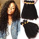billige Hairextension med naturlig farge-4 pakker Brasiliansk hår Kinky Curly Ekte hår Menneskehår Vevet 8-28 tommers Hårvever med menneskehår Hairextensions med menneskehår / 8A / Kinky Krøllet