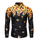 billige Skjorter-Bomull Klassisk krage EU / USA størrelse Skjorte Herre - Blomstret, Trykt mønster Grunnleggende / Gatemote Svart / Langermet