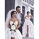 Χαμηλού Κόστους Νυφικά-Γραμμή Α Καρδιά Μακρύ Σατέν Στράπλες Φορέματα γάμου φτιαγμένα στο μέτρο με Διακοσμητικά Επιράμματα 2020