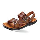ราคาถูก รองเท้าแตะผู้ชาย-สำหรับผู้ชาย รองเท้าสบาย ๆ หนัง ฤดูร้อน ไม่เป็นทางการ รองเท้าแตะ ระบายอากาศ สีน้ำตาล / สีกากี