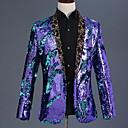 povoljno Odjeća za latino plesove-Diskoteka 1980 Szmoking Muškarci Šljokice Kostim Crn / Zlatan / purpurna boja Vintage Cosplay Prom Dugih rukava