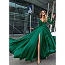 Χαμηλού Κόστους Γυναικεία παπούτσια γάμου-Γραμμή Α Βυθίζοντας το λαιμό Μακρύ Σιφόν Ανοικτή Πλάτη Επίσημο Βραδινό Φόρεμα 2020 με Κρυστάλλινη λεπτομέρεια / Με Άνοιγμα Μπροστά