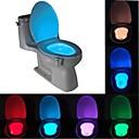 billige Innendørs Natt Lys-brelong 1 stk 8-fargers personbevegelsessensor pir toalett nattlys