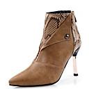 billige Mote Boots-Dame Støvler Stiletthæl Spisstå Nagle / Dyremønster PU Ankelstøvler Høst vinter Svart / Brun / Fargeblokk
