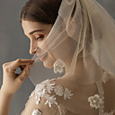 baratos Clutches & Bolsas de Noite-Três Camadas Estiloso Véus de Noiva Véu Ombro com Gliter com Brilho Tule / Corte de Anjo / Cascata