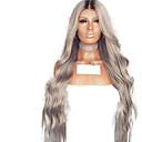 Χαμηλού Κόστους Συνθετικές περούκες με δαντέλα-Συνθετικές μπροστινές περούκες δαντέλας Κυματιστό Μέσο μέρος Δαντέλα Μπροστά Περούκα Ombre Μακρύ Ombre Color Συνθετικά μαλλιά 18-26 inch Γυναικεία Ρυθμιζόμενο Ανθεκτικό στη Ζέστη Πάρτι Γκρι Ombre