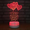 Χαμηλού Κόστους Διακόσμηση και φως νυκτός-1pc Heart Shape 3D Nightlight USB Δημιουργικό / Γενέθλια / Με θύρα USB 5 V