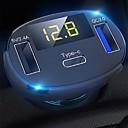 billige OBD-3-porter usb type-c hurtigladere bil ladere adapter ledet voltmeter / auto bluetooth FM radio sender