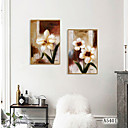 זול אומנות ממוסגרת-דפוס אומנות ממוסגרת סט ממוסגר - מופשט פרחוני / בוטני פוליסטירן ציור שמן וול ארט