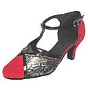 baratos Brincos-Mulheres Sapatos de Dança Moderna / Dança de Salão Camurça Estilo -T Salto Salto Cubano Sapatos de Dança Preto / Vermelho / Laranja e Preto