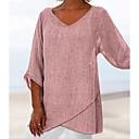 Χαμηλού Κόστους Συνθετικές περούκες χωρίς σκουφί-Γυναικεία T-shirt Βαμβάκι Μονόχρωμο Λαιμόκοψη V Φαρδιά Dusty Rose Ανθισμένο Ροζ