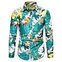 billige Skjorter-Skjorte Herre - Blomstret / Frukt, Trykt mønster Grunnleggende Tropisk blad / Ananas Gul