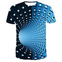 billiga Glödlampor-Tryck, Randig / Färgblock T-shirt - Streetchic / Punk & Gotiskt Herr Rund hals Blå / Kortärmad