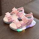 billige LED Sko-Jente LED / Første gåsko / Lysende sko Fuskelær Sandaler Små barn (4-7år) Svart / Rød / Rosa Sommer