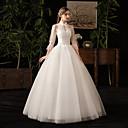 billige Bryllupskjoler-Ballkjole Høyhalset Gulvlang Tyll 3/4 ermer mordern Små Hvite Kjoler Made-To-Measure Brudekjoler med Appliqué 2020