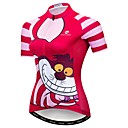 cheap Cycling Shoes-21Grams Cheshire Cat Women's Short Sleeve Cycling Jersey - Fuchsia Bike Jersey Top Breathable Moisture Wicking Quick Dry Sports Polyester Elastane Terylene Mountain Bike MTB Road Bike Cycling