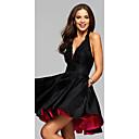 זול שמלות שושבינה-גזרת A צווארון V / קולר קצר \ מיני סאטן נמתח שמלה שחורה קטנה מסיבת קוקטייל שמלה עם אפליקציות על ידי LAN TING Express
