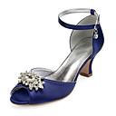 ราคาถูก รองเท้าแต่งงาน-สำหรับผู้หญิง รองเท้าแต่งงาน ส้นหนา ที่สวมนิ้วเท้า หินประกาย ซาติน วินเทจ / หวาน ฤดูใบไม้ผลิ / ฤดูร้อนฤดูใบไม้ผลิ สีดำ / ขาว / สีม่วง / งานแต่งงาน / พรรคและเย็น