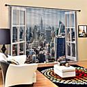 billige 3D gardiner-3D-trykk Personvern To paneler Gardin Stue   Curtains