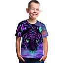 Χαμηλού Κόστους Μπλουζάκια για αγόρια-Παιδιά Νήπιο Αγορίστικα Ενεργό Βασικό Τίγρης Γεωμετρικό Στάμπα 3D Στάμπα Κοντομάνικο Κοντομάνικο Βυσσινί / Ζώο