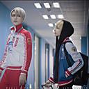 povoljno Anime kostimi-Inspirirana Jurij !!! na ledu Cosplay Anime Cosplay nošnje Japanski Cosplay Suits Kaput / Hlače Za Muškarci / Žene