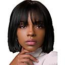 olcso Emberi hajból készült parókák-Emberi haj Csipke Paróka Rövid Bob Szabad rész stílus Brazil haj Selymes egyenes Fekete Paróka 130% Haj denzitás Női Női Rövid Emberi hajból készült parókák Clytie