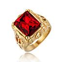 billige Båndringe-Herre Ring Edelsten 1pc Rød Grønn Blå Titanium Stål Sirkelformet Vintage Grunnleggende Mote Daglig Smykker